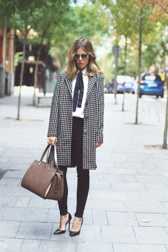 Printed coat and bow tie blouse