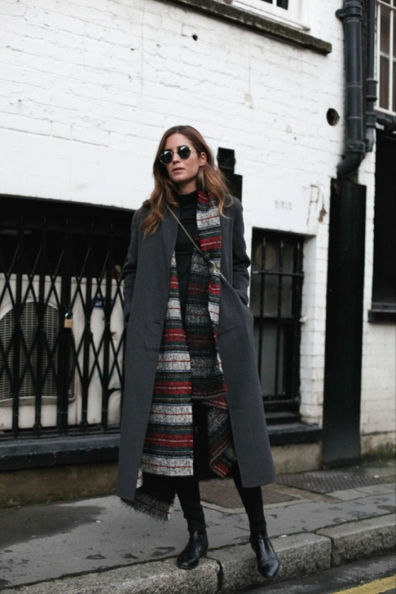 Maxi coat and maxi scarf look