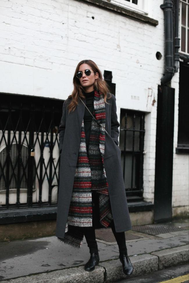 Maxi coat and maxi scarf look