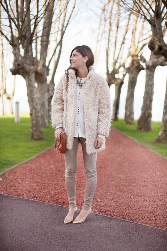 White fur coat look