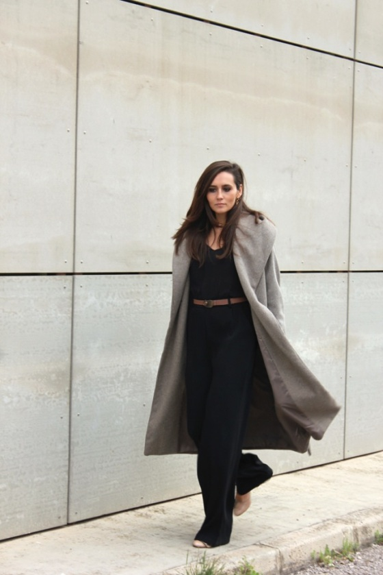 Black look and grey coat