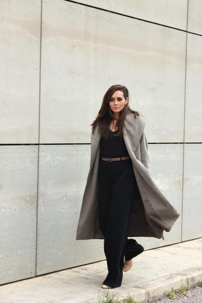 Black look and grey coat