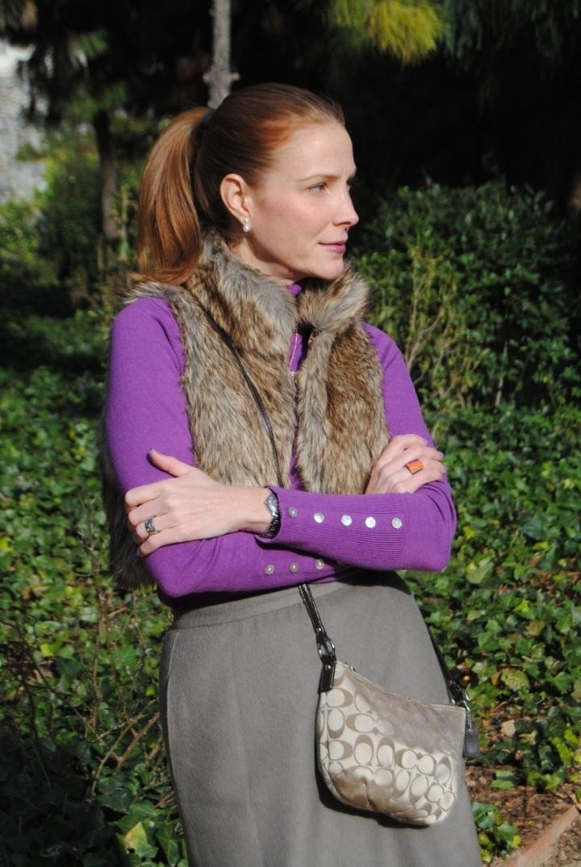 Faux fur vest look