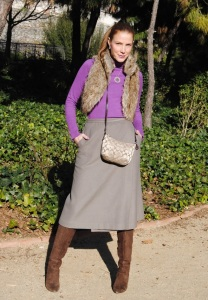 Midi skirt and over the knee boots