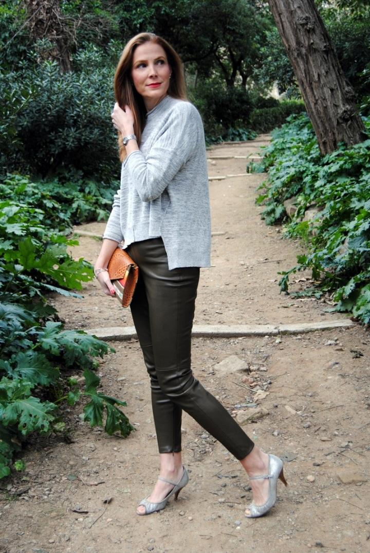 Pantalón de cuero verde