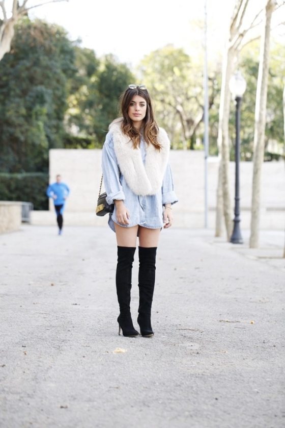 White hairy scarf look