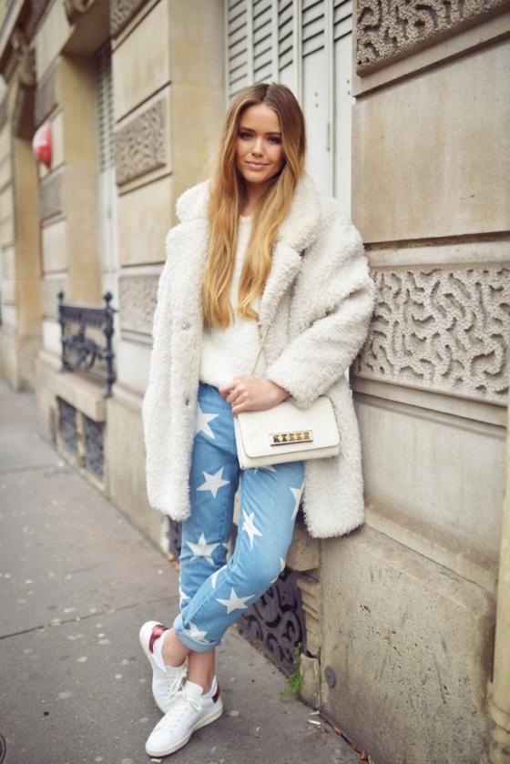 White flyffy coat look