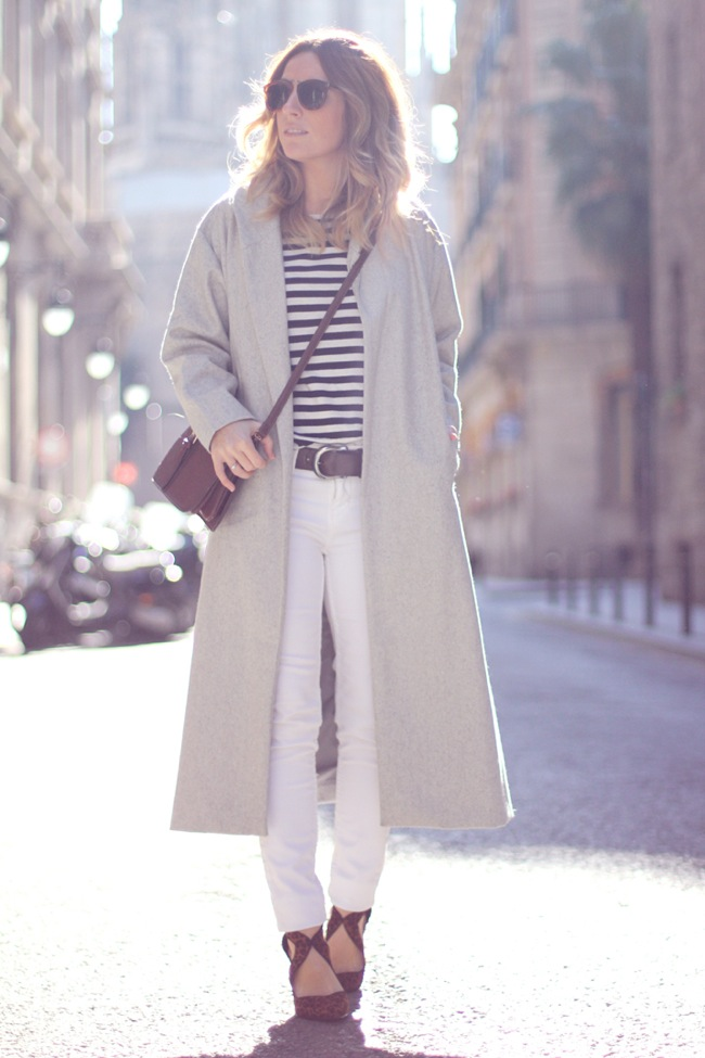 Stripes, maxi coat and leopard print shoes