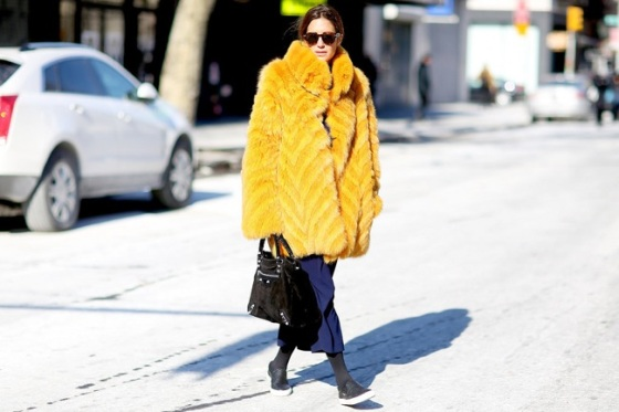 YellowYellow faux fur coat look