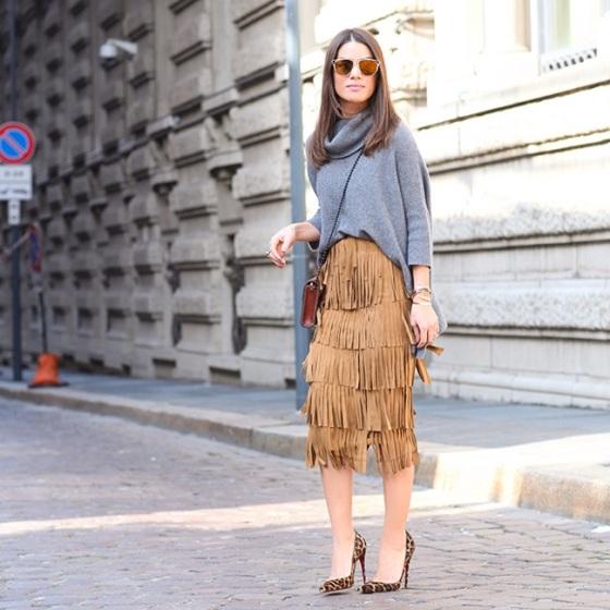 Fringe suede skirt look