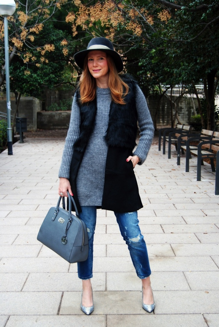 Boyfriend jeans and vest look