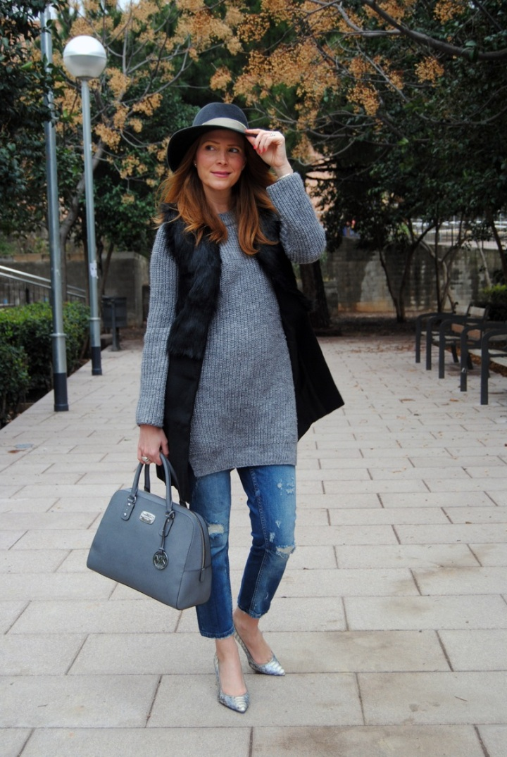 Winter look in grey hues