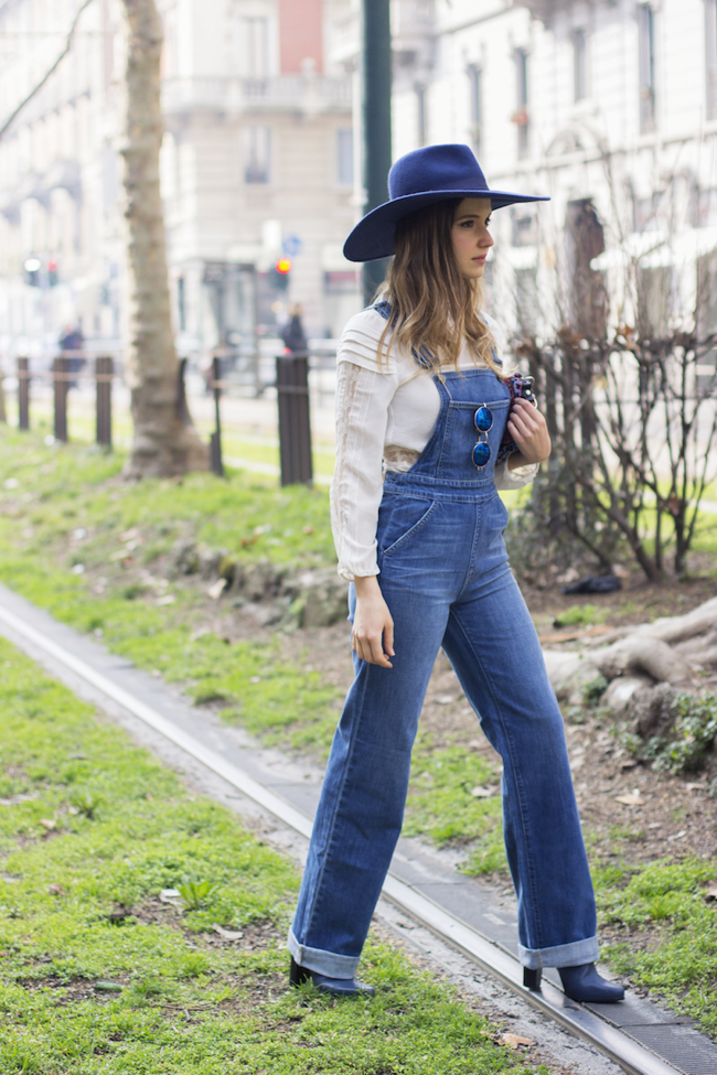 Flared denim overall
