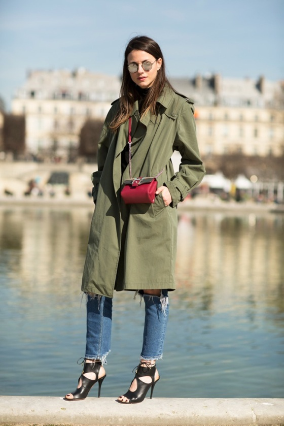 look with Khaki trench