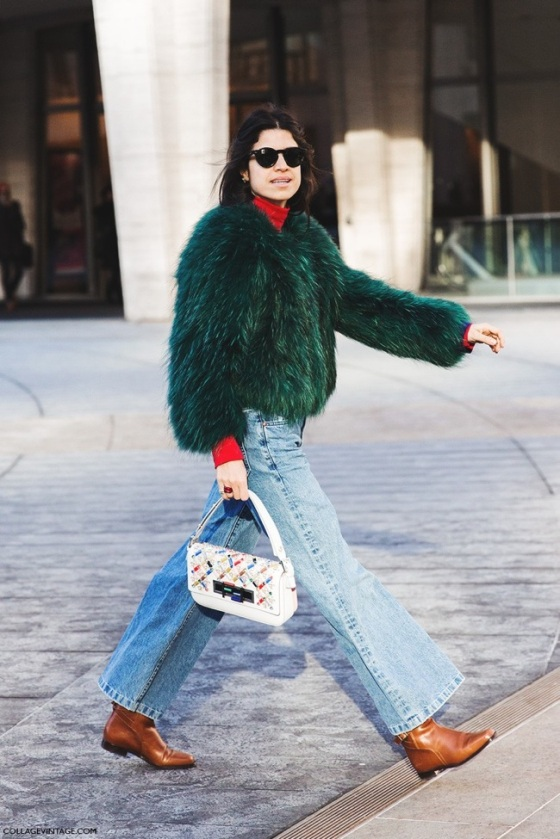 Green fAux fur coat look