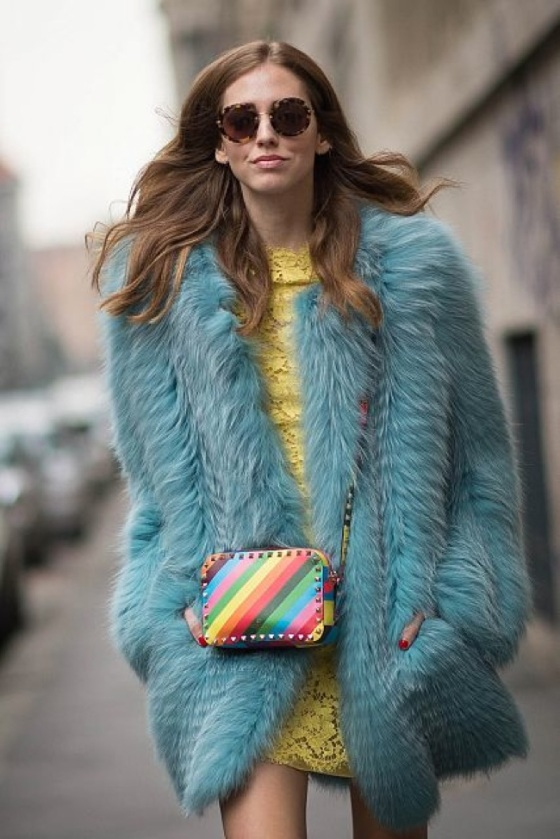 Faux fur colored coat