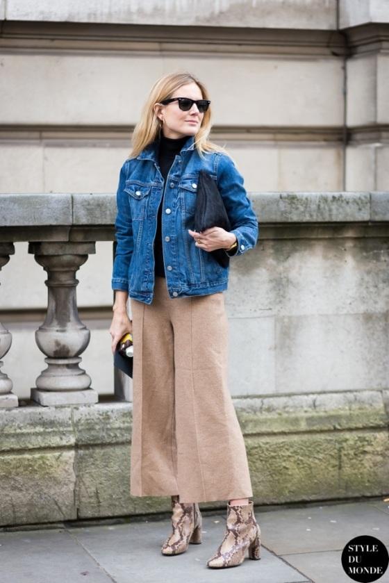 Culottes and denim jacket  look