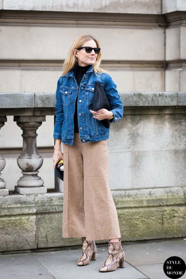 Culottes and denim jacket  look
