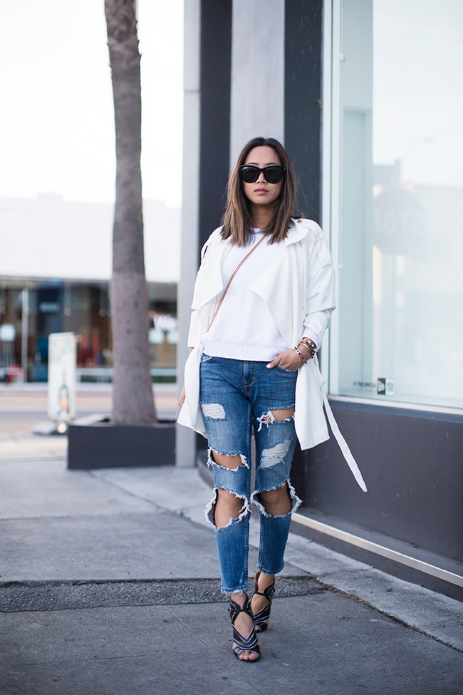 Ripped jeans and white