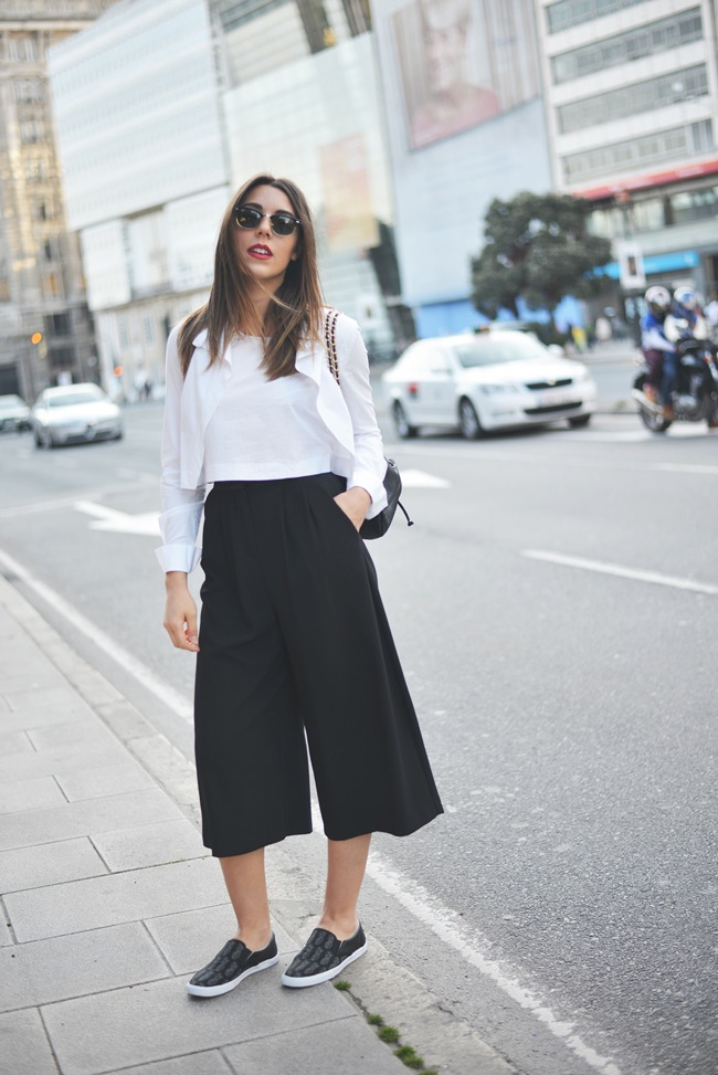 Black culottes look