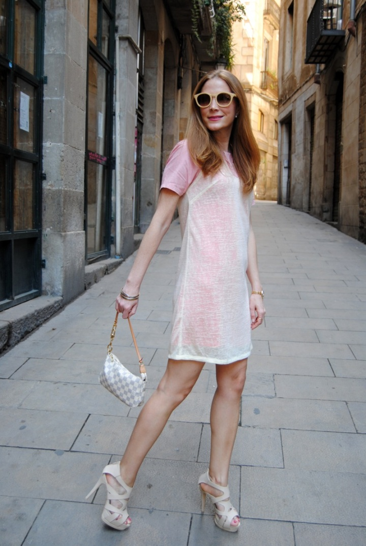 Vestido rosa y Beige Titisclothing
