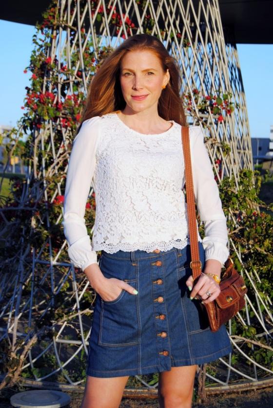 70's look with denim skirt