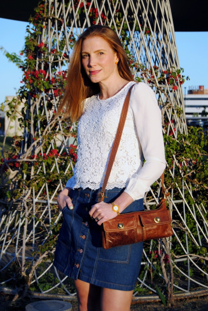 Lace shirt and denim skirt look