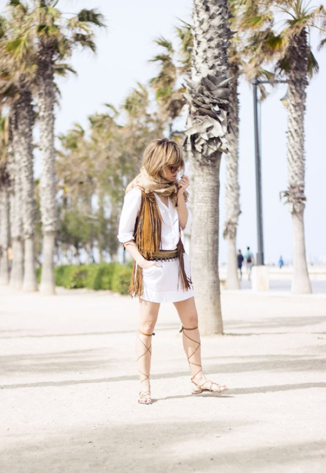Boho look with lace up sandals