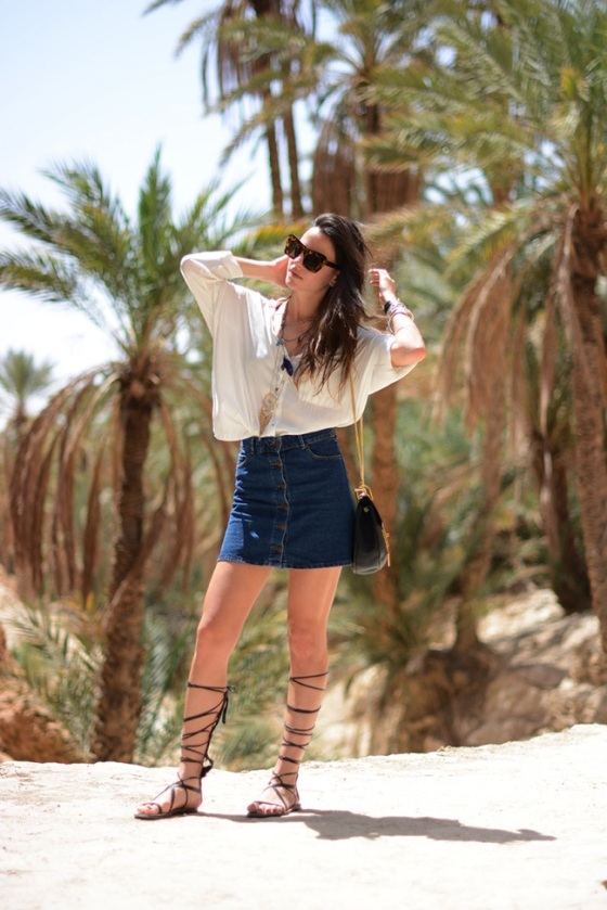 Lace up sandals and bottom up skirt look