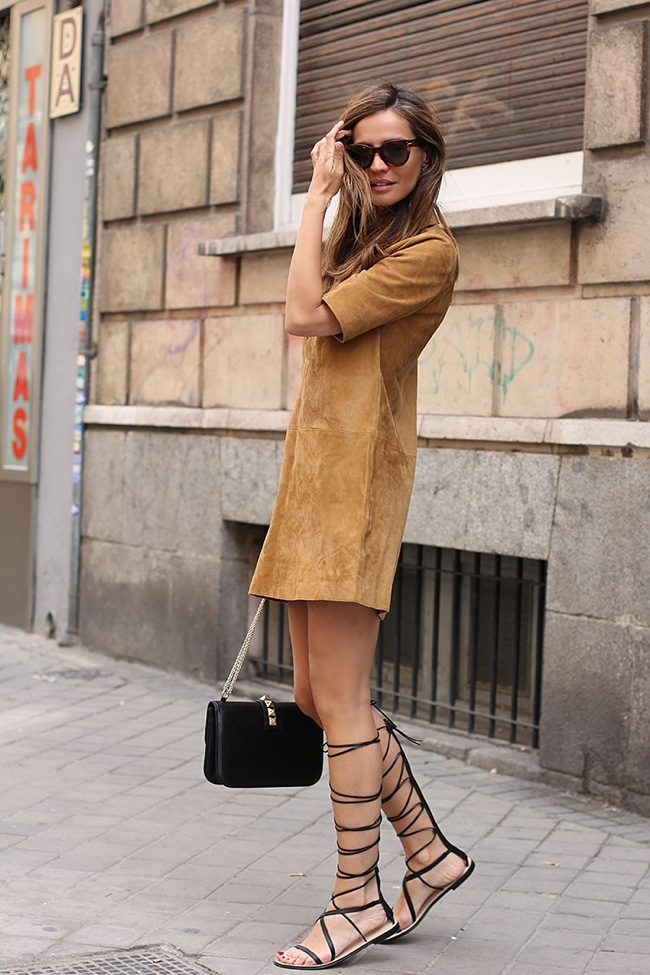 Suede Dress and Gladiator sandals look
