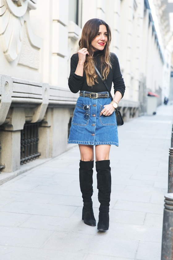 Over the knee boots and button front denim skirt