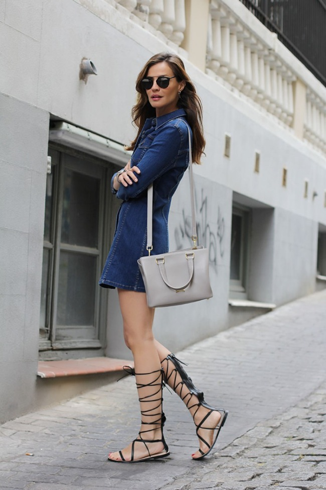 Gladiator sandals and denim dress look