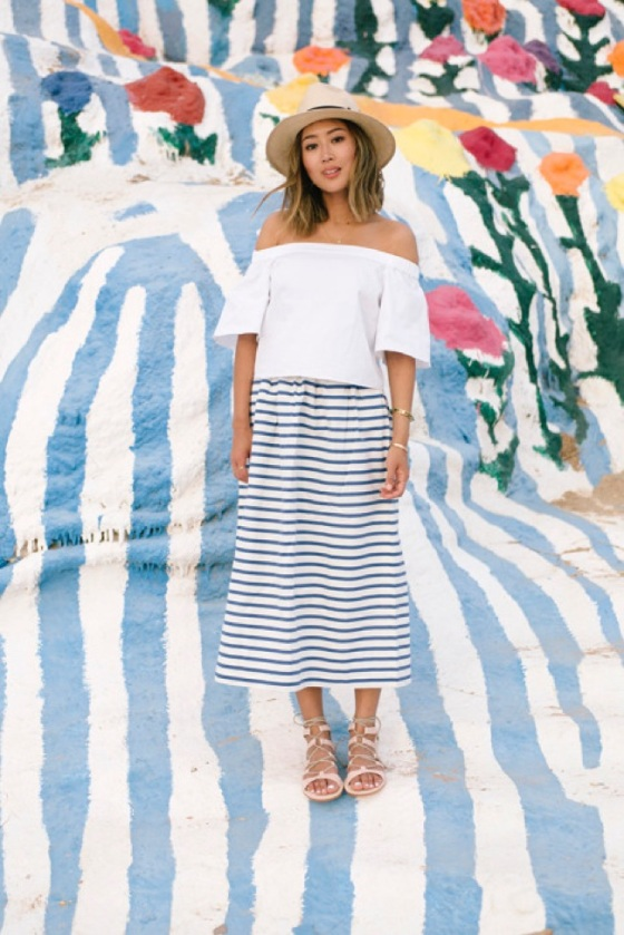 Off shoulder blouse and striped skirt look