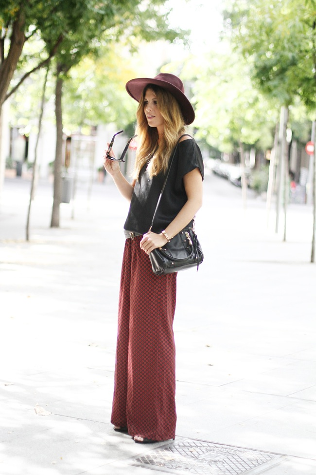 boho pant and basic black shirt