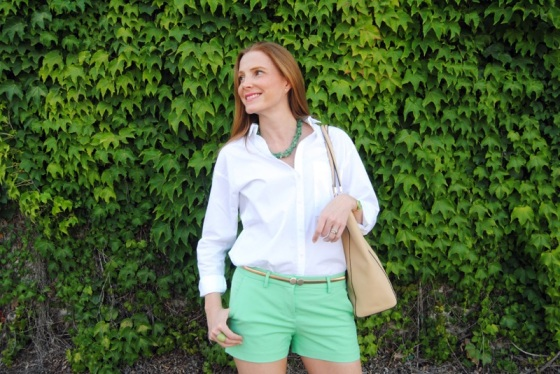 White shirt and mint shorts