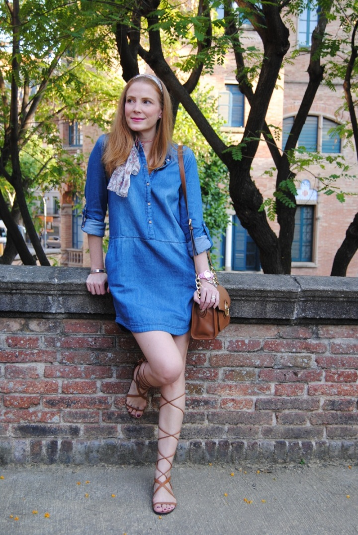Denim shirt dress look