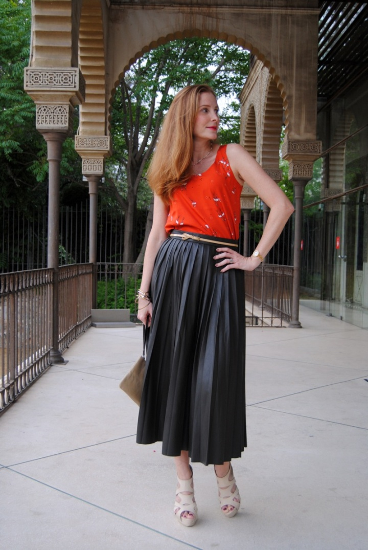Pleated faux fur skirt