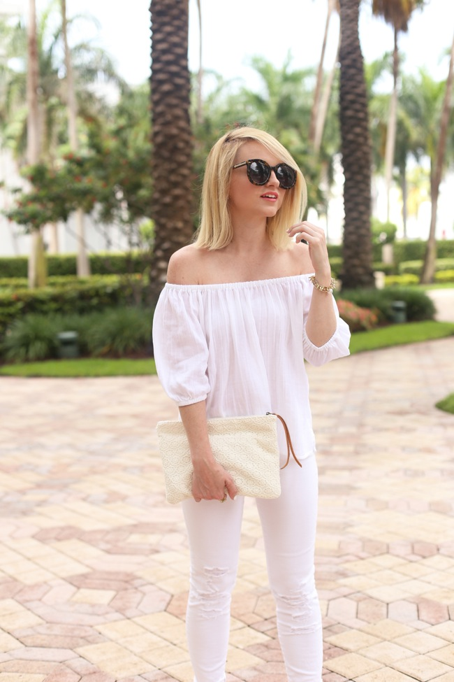 off shoulder white shirt