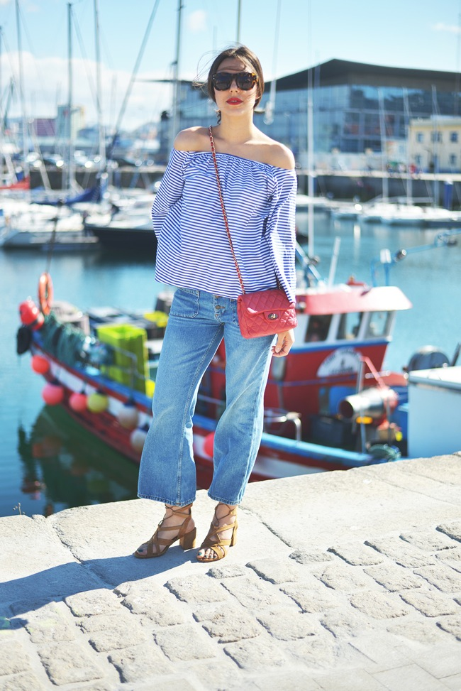 off shoulders striped blouse