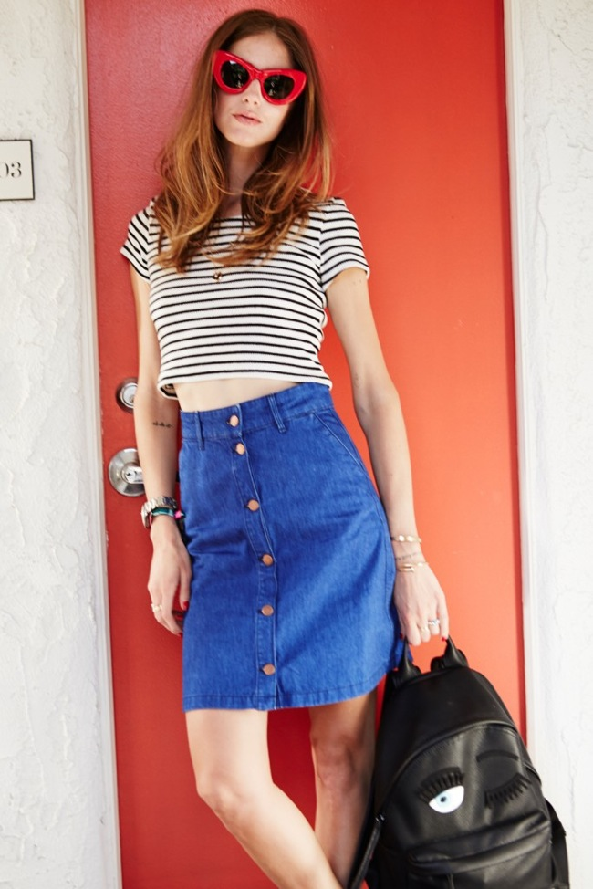 Striped shirt and denim skirt look