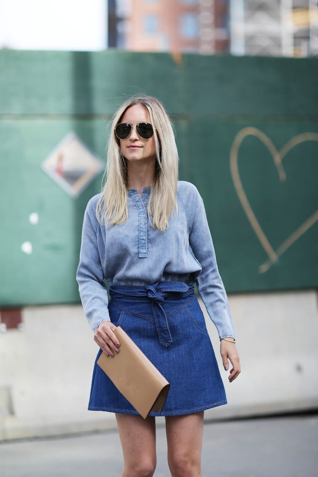 Denim shirt and jean skirt