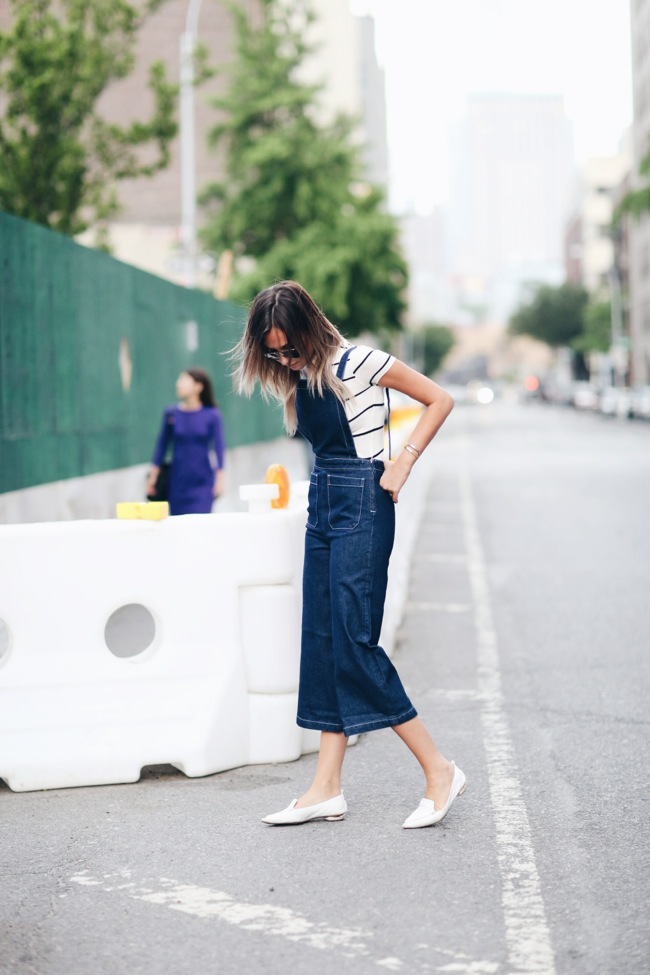 Overall and striped shirt look