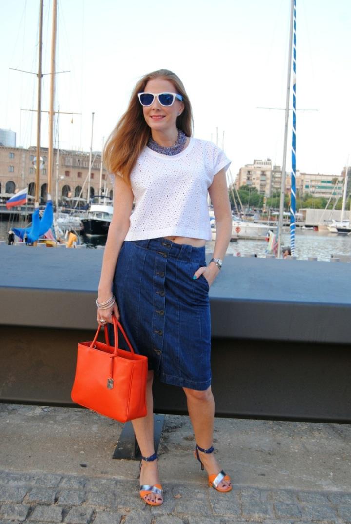 Crop top and denim skirt
