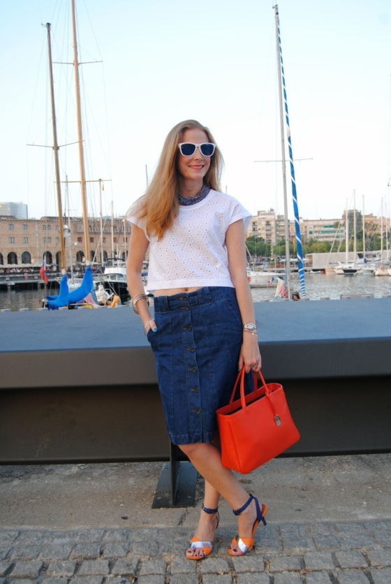 button front denim skirt look