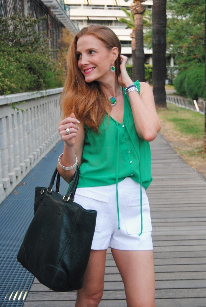 Green shirt and white shorts look