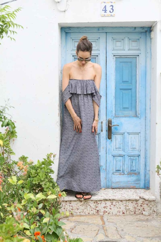 Vestido off shoulder largo estampado