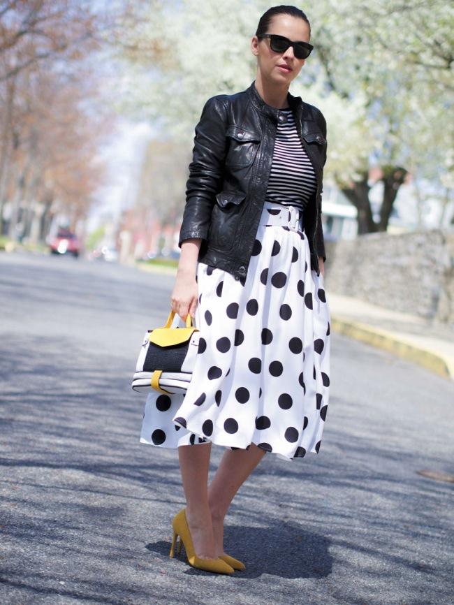 Midi polka dots skirt look