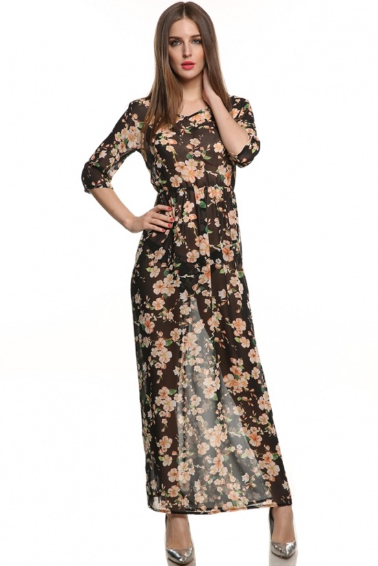 dressin chiffon floral maxi dress