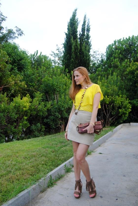 Suede skirt look
