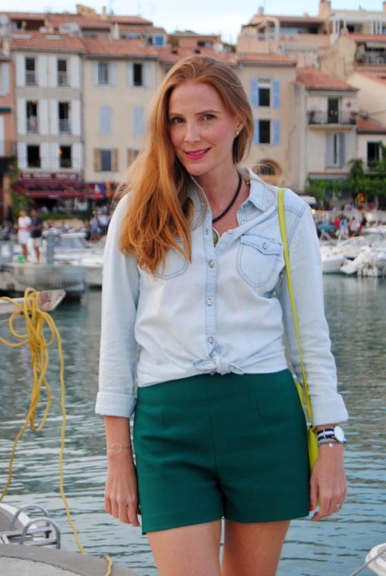 Camisa jean y short verde